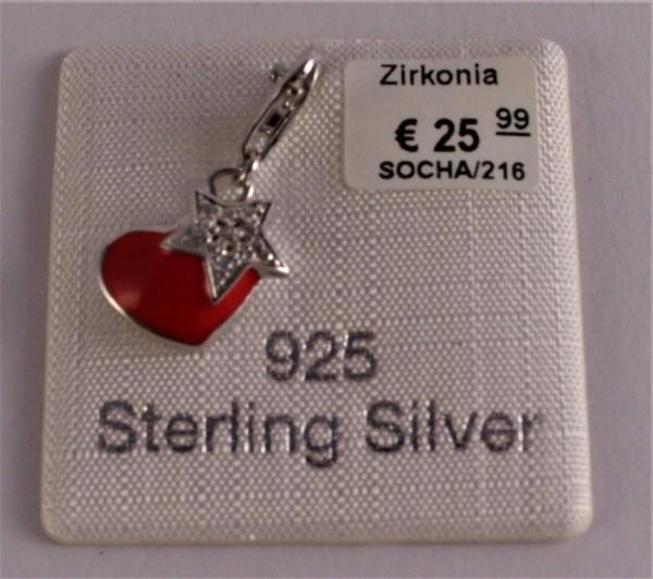 s.Oliver Jewel Damen Anhänger Charm Silber Herz Zirkonia